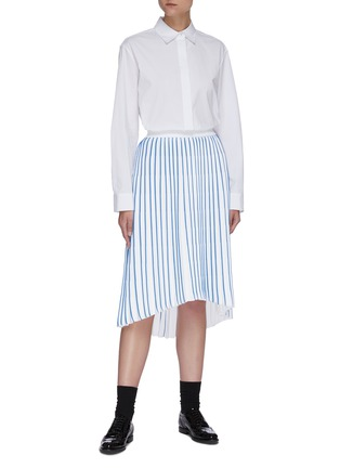 Figure View - Click To Enlarge - THOM BROWNE - Accordion below the knee contrast stripe pleated midi skirt
