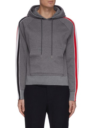 Main View - Click To Enlarge - THOM BROWNE - Tricolour interlocking stripe outseam hoodie