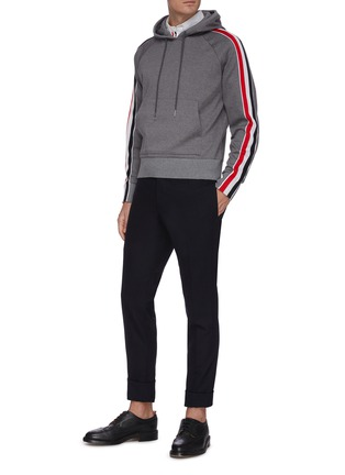 Figure View - Click To Enlarge - THOM BROWNE - Tricolour interlocking stripe outseam hoodie