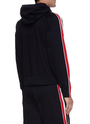 Back View - Click To Enlarge - THOM BROWNE - Tricolour interlock stripe outseam hoodie