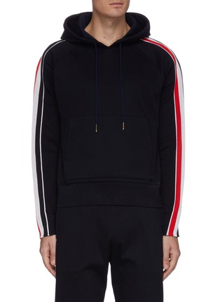 Main View - Click To Enlarge - THOM BROWNE - Tricolour interlock stripe outseam hoodie