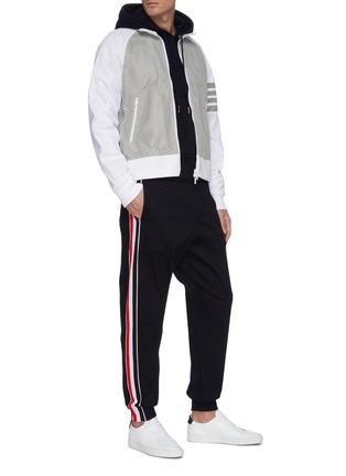 Figure View - Click To Enlarge - THOM BROWNE - Tricolour interlock stripe outseam hoodie