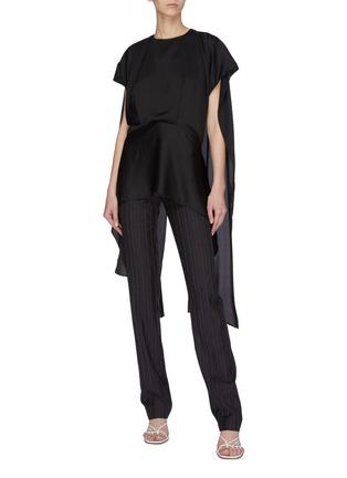 Figure View - Click To Enlarge - 16ARLINGTON - 'Barbara' open back cape sleeve blouse