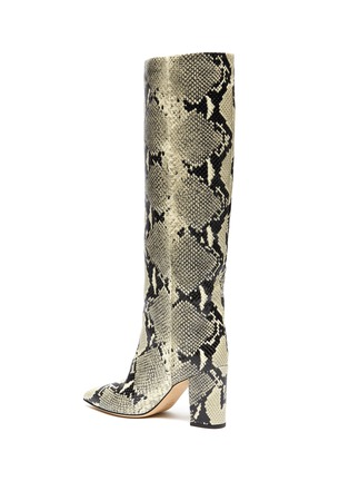- PARIS TEXAS - SNAKE EMBOSSED LEATHER KNEE HIGH BOOTS