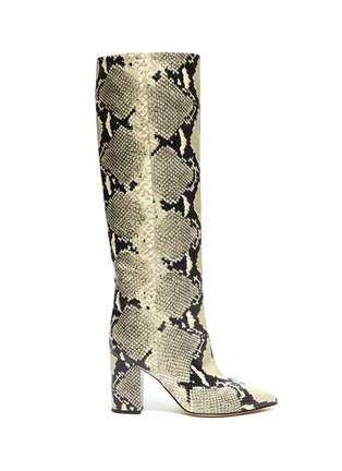 Main View - Click To Enlarge - PARIS TEXAS - SNAKE EMBOSSED LEATHER KNEE HIGH BOOTS
