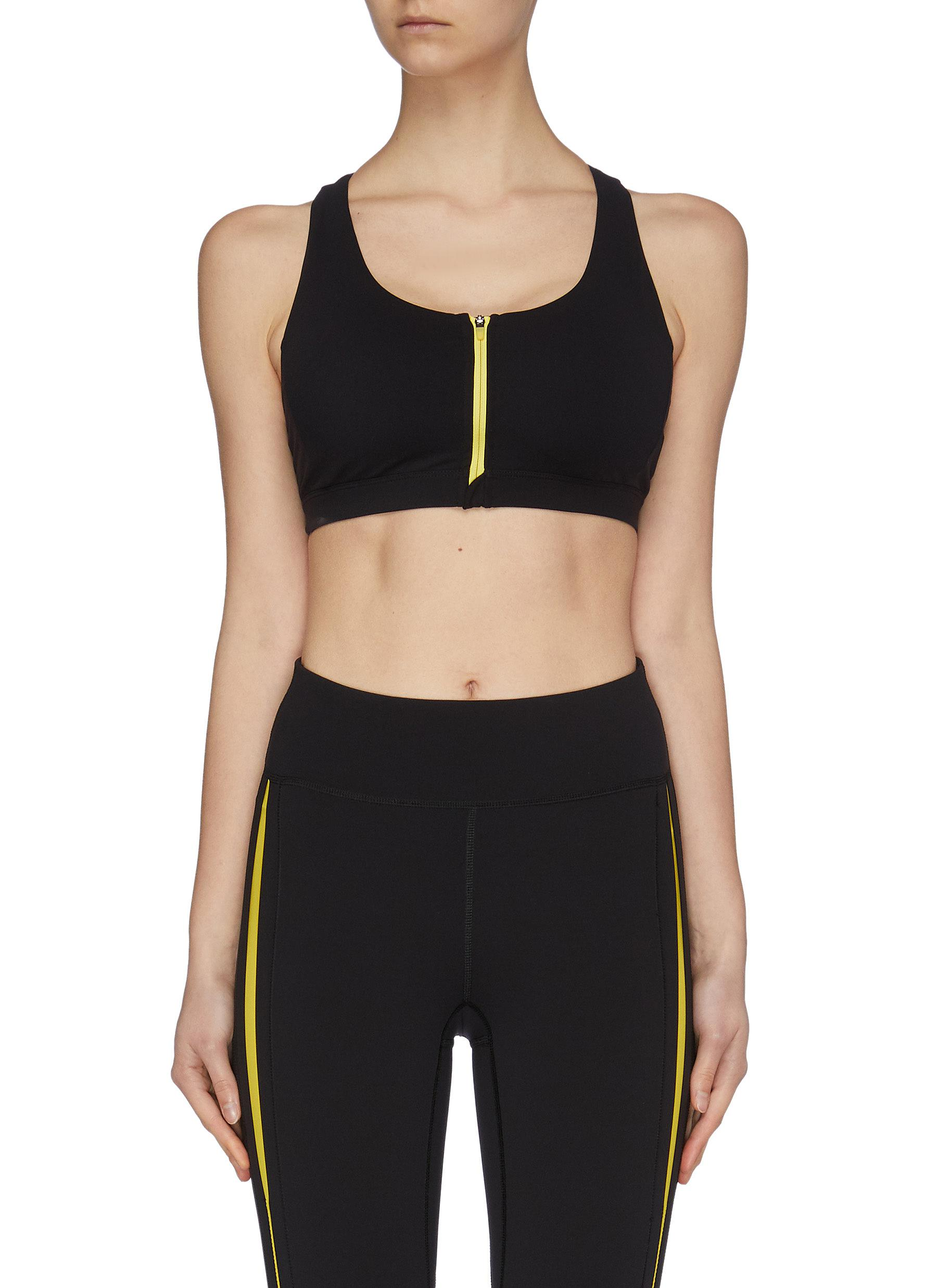 shop Particle Fever Quick-dry Contrasted Front Zip Sports Bra online