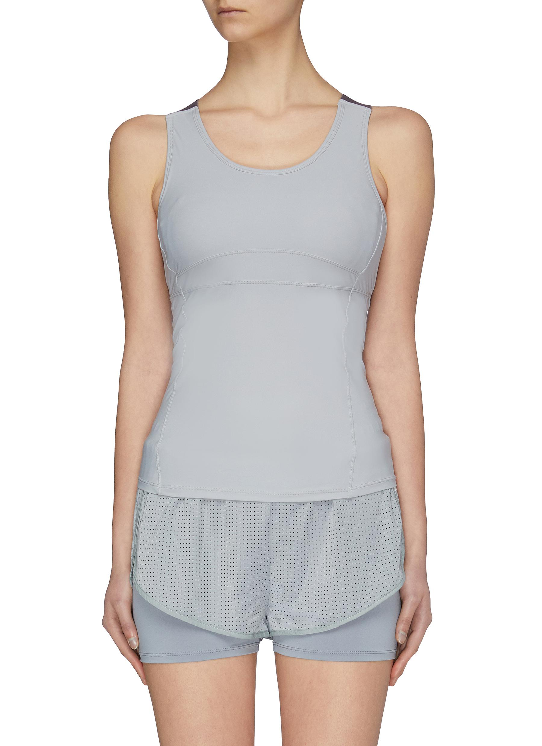 Buy Particle Fever Tops Quick-dry Mesh Panel Padded Tank Top