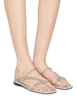 Figure View - Click To Enlarge - PEDDER RED - 'Calvina' strass embellished strappy sandals