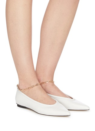 Figure View - Click To Enlarge - PEDDER RED - Alicia' ankle chain leather skimmer flats