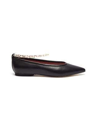 Main View - Click To Enlarge - PEDDER RED - Alicia' ankle chain leather skimmer flats