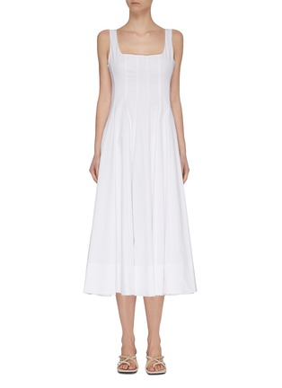 Main View - Click To Enlarge - STAUD - 'Wells' square neck sleeveless pleated maxi dress