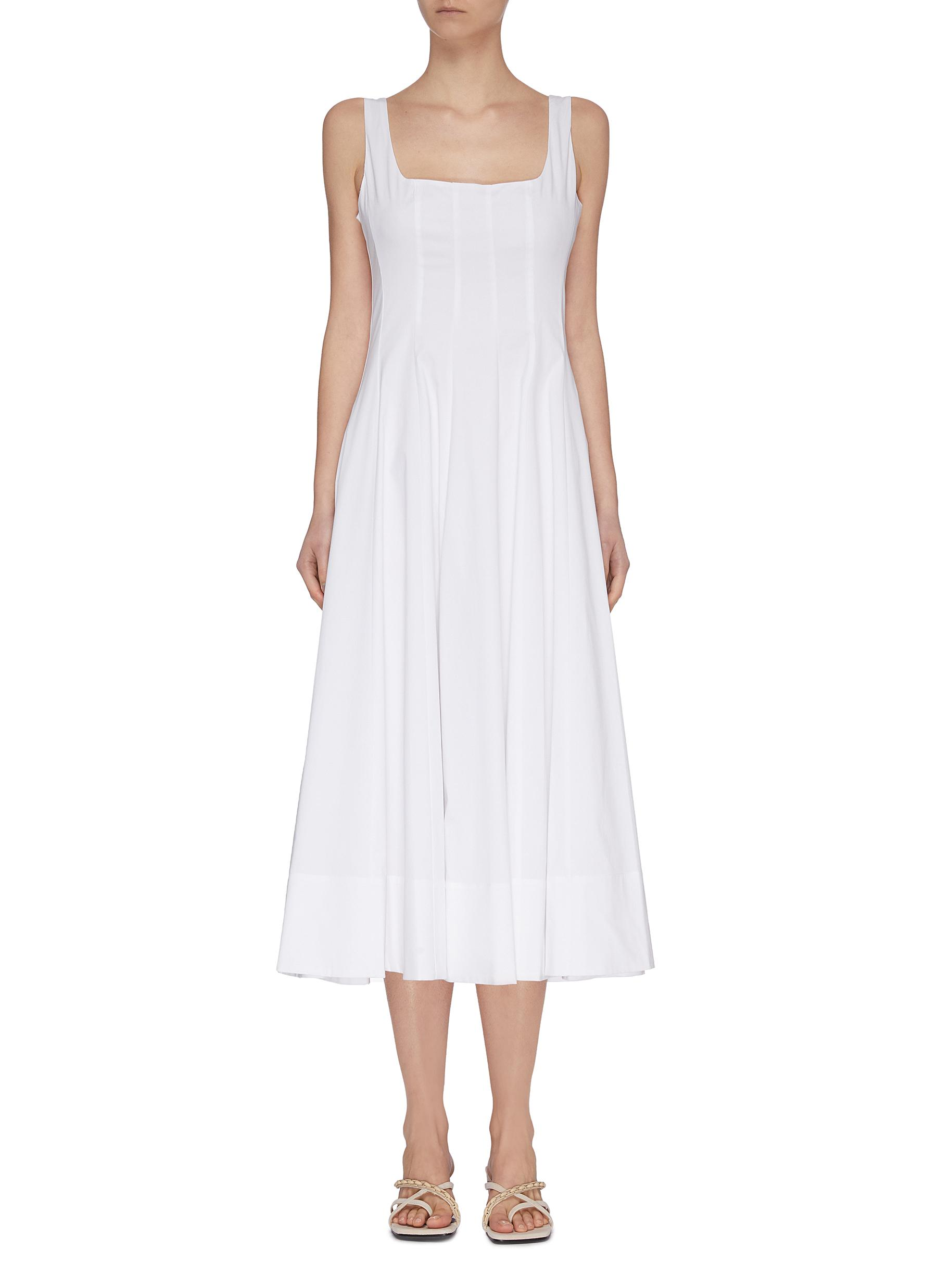 shop Staud 'Wells' square neck sleeveless pleated maxi dress online