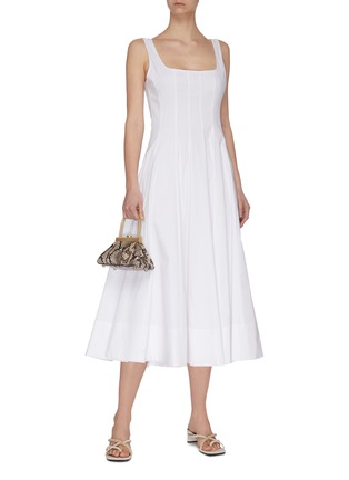 Figure View - Click To Enlarge - STAUD - 'Wells' square neck sleeveless pleated maxi dress
