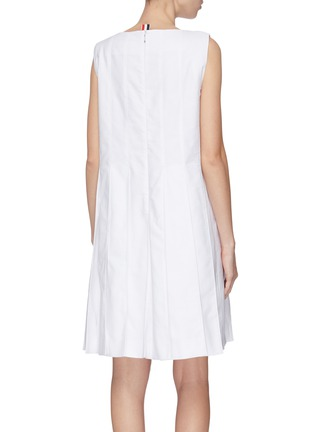 Back View - Click To Enlarge - THOM BROWNE - Pleated Oxford dress