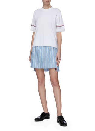 Figure View - Click To Enlarge - THOM BROWNE - Banker stripe pleated mini skirt