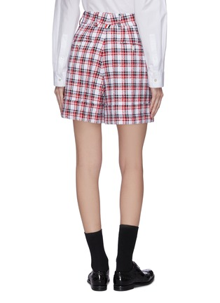 Back View - Click To Enlarge - THOM BROWNE - Fray detail check tweed cuff leg shorts