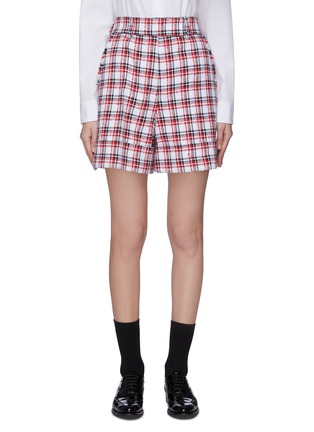 Main View - Click To Enlarge - THOM BROWNE - Fray detail check tweed cuff leg shorts
