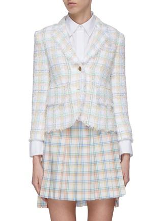 Main View - Click To Enlarge - THOM BROWNE - Frayed ribbon tweed jacket