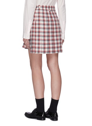 Back View - Click To Enlarge - THOM BROWNE - Drop Back Tattersall Check Mini Skirt