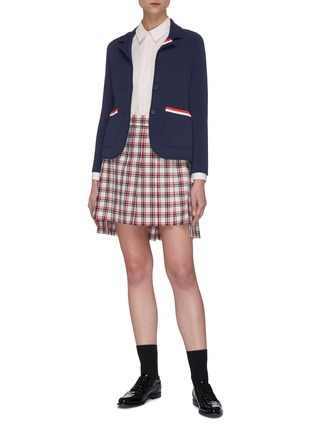 Figure View - Click To Enlarge - THOM BROWNE - Drop Back Tattersall Check Mini Skirt