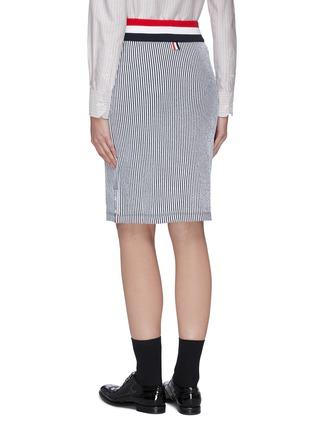 Back View - Click To Enlarge - THOM BROWNE - Stripe seersucker skirt