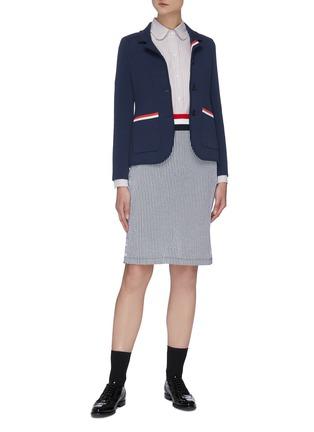Figure View - Click To Enlarge - THOM BROWNE - Stripe seersucker skirt