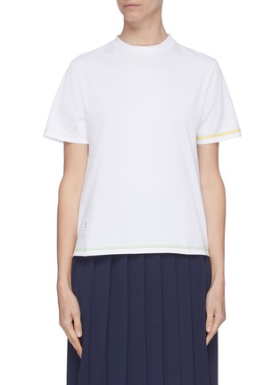 Main View - Click To Enlarge - THOM BROWNE - Slit hem contrast topstitch T-shirt