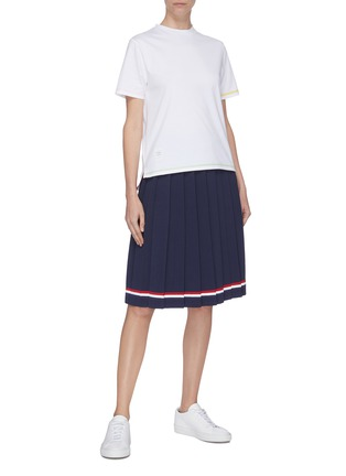 Figure View - Click To Enlarge - THOM BROWNE - Slit hem contrast topstitch T-shirt