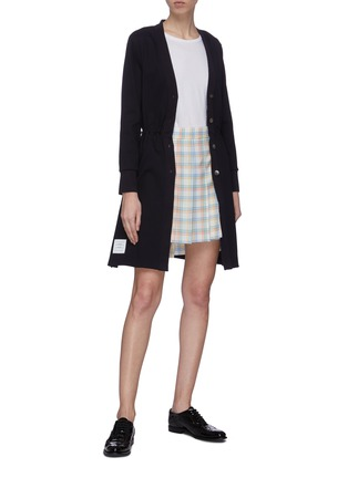 Figure View - Click To Enlarge - THOM BROWNE - Drawcord waist long V-neck cardigan