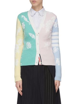 Main View - Click To Enlarge - THOM BROWNE - Ocean intarsia cashmere cardigan
