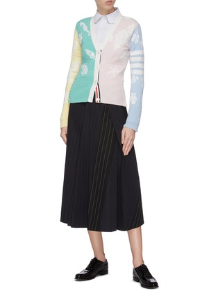 Figure View - Click To Enlarge - THOM BROWNE - Ocean intarsia cashmere cardigan