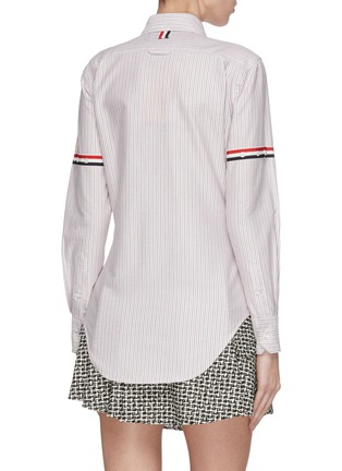 Back View - Click To Enlarge - THOM BROWNE - Stripe sleeve Oxford cardigan