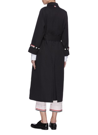 Back View - Click To Enlarge - THOM BROWNE - Belted raglan waterproof cotton twill trench coat