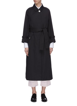 Main View - Click To Enlarge - THOM BROWNE - Belted raglan waterproof cotton twill trench coat