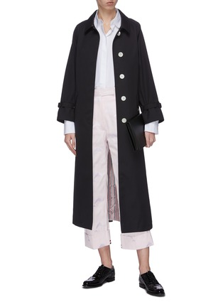 Figure View - Click To Enlarge - THOM BROWNE - Belted raglan waterproof cotton twill trench coat
