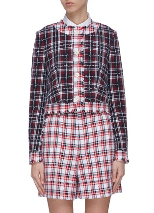 Main View - Click To Enlarge - THOM BROWNE - Frayed contrast check tweed jacket