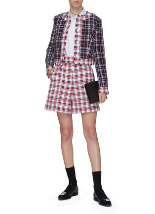 Figure View - Click To Enlarge - THOM BROWNE - Frayed contrast check tweed jacket