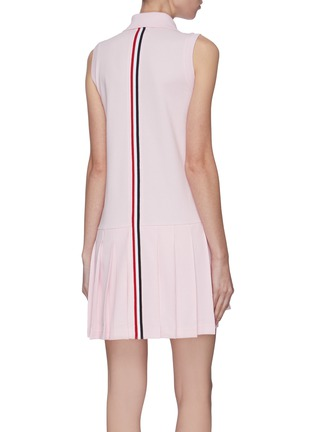 Back View - Click To Enlarge - THOM BROWNE - Tricolour stripe pleated bottom tennie dress