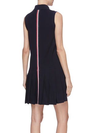 Back View - Click To Enlarge - THOM BROWNE - Tricolour stripe pleated bottom tennis dress