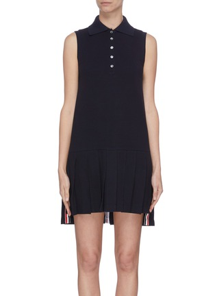 Main View - Click To Enlarge - THOM BROWNE - Tricolour stripe pleated bottom tennis dress
