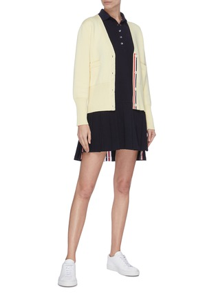 Figure View - Click To Enlarge - THOM BROWNE - Tricolour stripe pleated bottom tennis dress