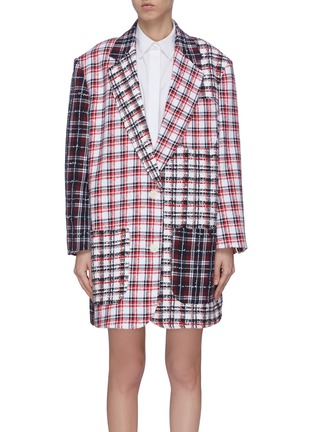 Main View - Click To Enlarge - THOM BROWNE - 'Fun-Mix' double tattersal supersized sack jacket