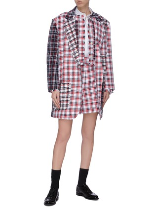 Figure View - Click To Enlarge - THOM BROWNE - 'Fun-Mix' double tattersal supersized sack jacket