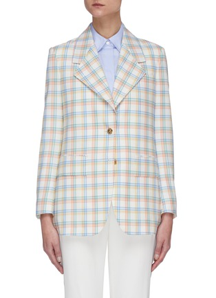 Main View - Click To Enlarge - THOM BROWNE - Double Tattersall Check Print Wide Lapel Jacket