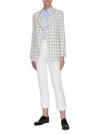 Figure View - Click To Enlarge - THOM BROWNE - Double Tattersall Check Print Wide Lapel Jacket