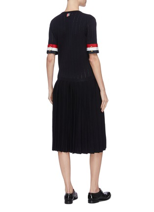 Back View - Click To Enlarge - THOM BROWNE - Tricolour grosgrain cuff pleated bottom dress