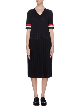 Main View - Click To Enlarge - THOM BROWNE - Tricolour grosgrain cuff pleated bottom dress