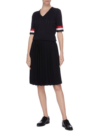 Figure View - Click To Enlarge - THOM BROWNE - Tricolour grosgrain cuff pleated bottom dress