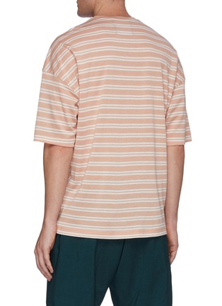 Back View - Click To Enlarge - UNCENSORED - Crewneck mix stripe T-shirt