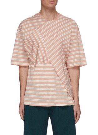 Main View - Click To Enlarge - UNCENSORED - Crewneck mix stripe T-shirt